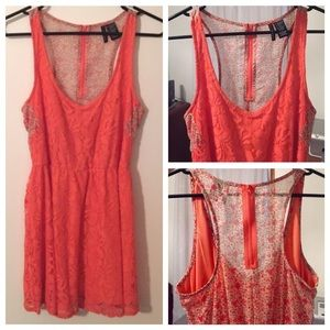 Fire Los Angeles Dresses & Skirts - Coral/orange lace dress with floral racerback
