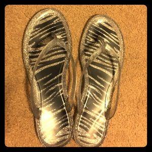 Shoes - SALE! Zepra Striped Sparkle Thong Flip Flops Sz 11