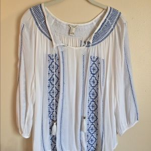 White and Blue Bohemian Blouse