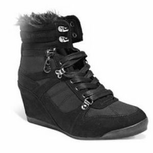 G by Guess Shoes - G by Guess Black Faux Fur Zipper Wedge Sneakers