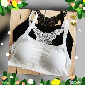 LAST ONE White Sexy lace back padded bra tanktop