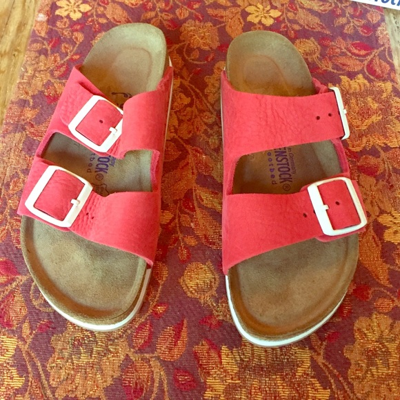 5dc875b7ad0 Birkenstock Shoes - Limited edition red and white buckle Birkenstocks