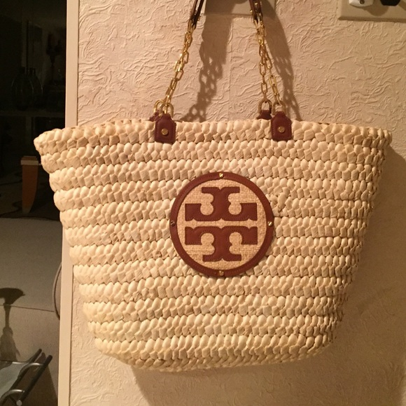 80af2e260a3 Tory Burch leather and straw tote. M 5747b0b37f0a05ad1e00c8a7