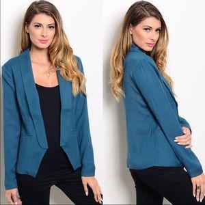 Boutique Jackets & Blazers - Teal Long Sleeve Blazer w/ Faux Pockets
