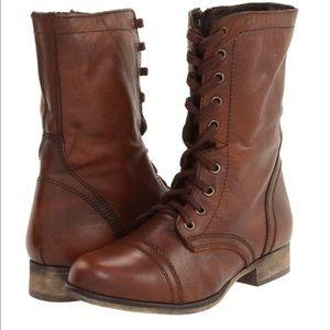 Steve Madden cognac leather combat boots