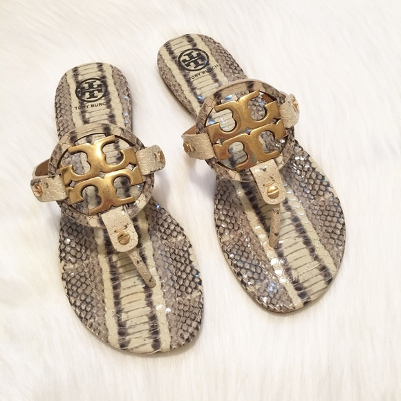 3b313a4e2fbd NEW Tory Burch Miller II Snake-Embossed Sandals!