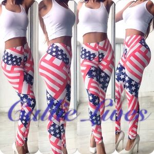 Callie Lives Pants - 🚨LAST🚨Red White Blue Stars Stripes Plus Legging