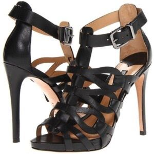 SCHUTZ Eirininn black leather sandals 8 like NEW
