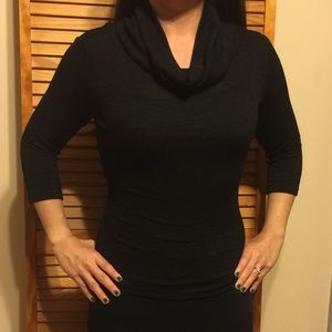 A. Byer Tops - A. Byer Black Cowl Neck 3/4 Sleeve Stretch Top