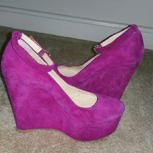 Boutique 9 Shoes - Boutique 9 Pink Suede Wedge Heels Size 7.5