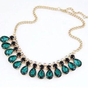 Green Crystal Bib Fashion Statement Necklace