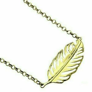 Boho chic gold feather necklace New
