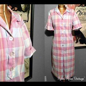 Vintage Preppy Plaid Vintage Shirt Dress - XL