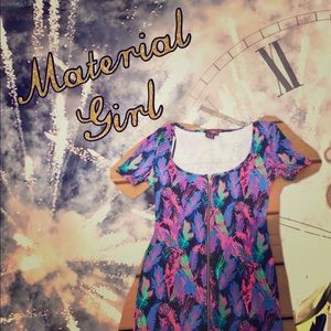 Material Girl full zip front feather print dress