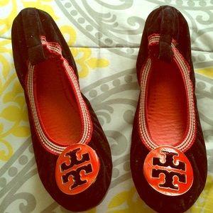 Shoes - Black suade flats size 6