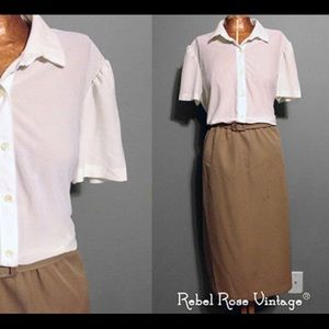 Vintage 60s/70's Camel and Cream Shirt Dress