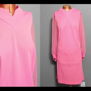 Vintage 1960's Pink Dress With Sheer Sleeves