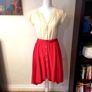 Presley Skye red and cream silk dress