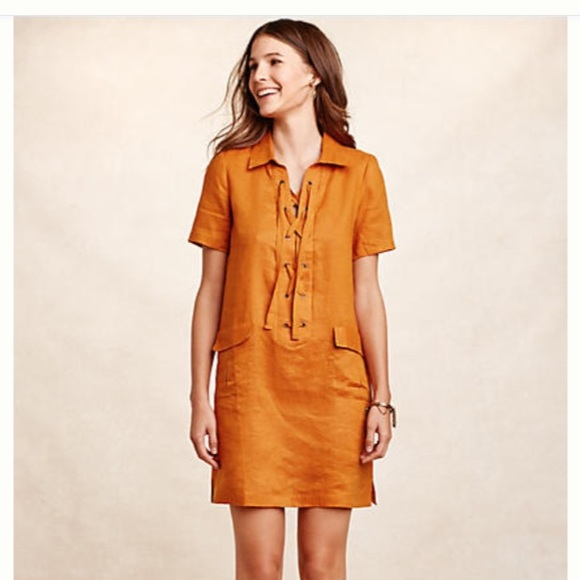 9a6b4d24c1f Anthropologie Dresses   Skirts - Anthropologie Lace Up Linen Dress by Maeve  -Mango-