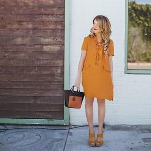 2deb6439a9 Anthropologie Dresses - Anthropologie Lace Up Linen Dress by Maeve -Mango-