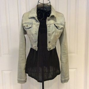 Dollhouse Distressed Cropped Jean Jacket