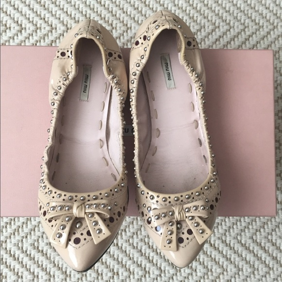 ec9337650ea Mini Miu Studded Patent Ballet Flats