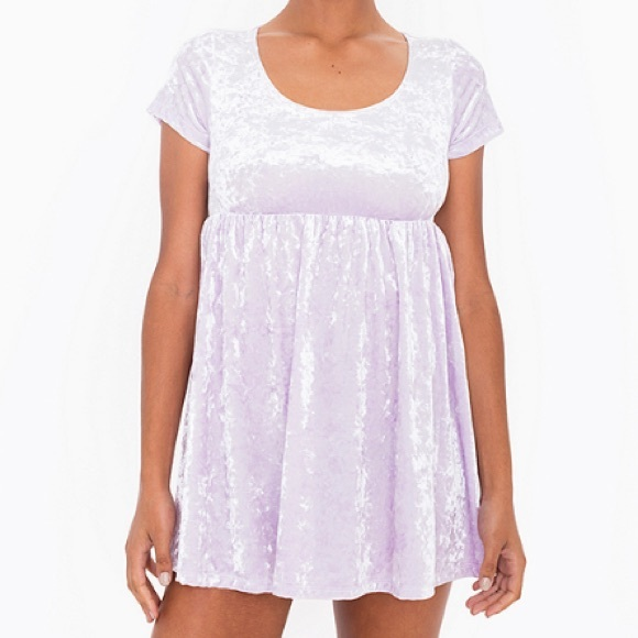 American Apparel Dresses - Crushed Marshmallow Stretch Velvet Babydoll Dress