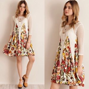 Dresses & Skirts - FLORAL PRINT SHEER BOHO BABYDOLL CROTCHET DRESS