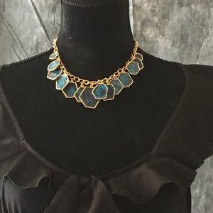 Blue snakeskin statement necklace choker
