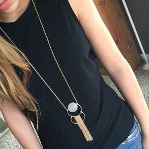 New York & Company Jewelry - NWT Semi Precious Stone & Tassel Necklace