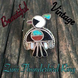 Vintage Jewelry - HP VTG 925 Zuni Thunderbird Inlay Ring