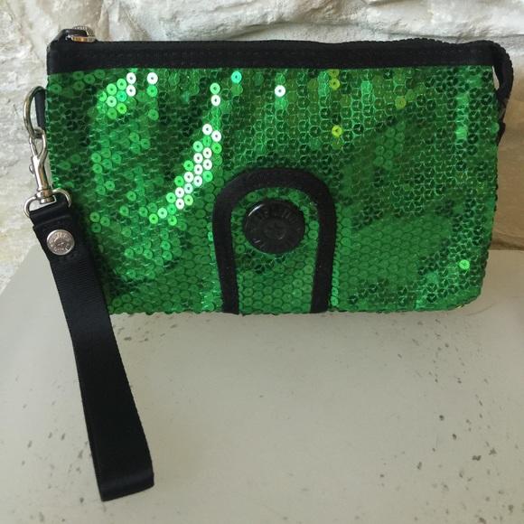 women huge sale limited sale Kipling green sequin clutch