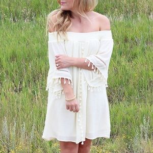 MOVING SALE❗️Cream Off The Shoulder Tassel Dress