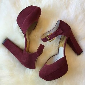 MICHAEL Michael Kors Shoes - Burgundy Suede Platform Heel | Michael Kors