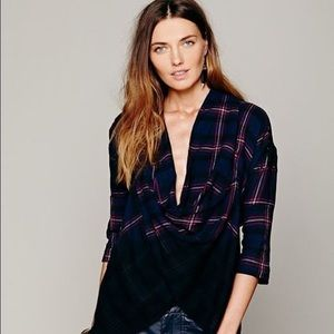 Free People New Romantics Plaid Embroidered Wrap