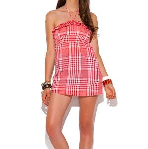 Tops - Red Plaid Print Baby Doll Tunic Top