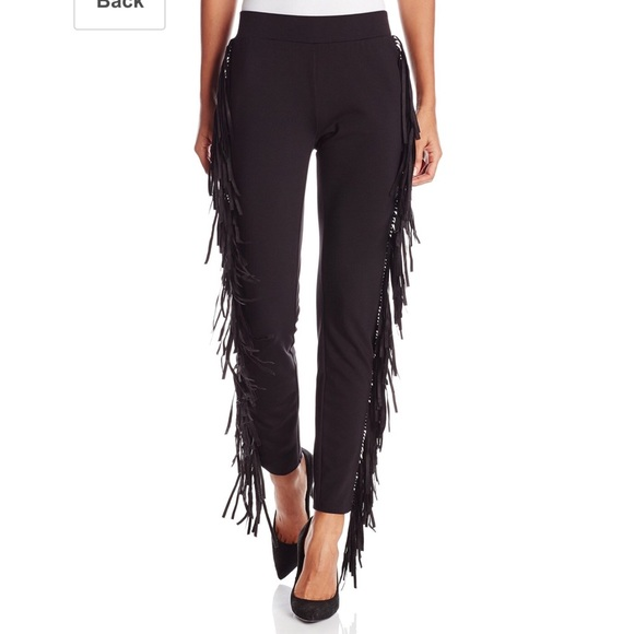 ea359a08e0556 Rachel Zoe Pants | New Black Margery Fringe Leggings | Poshmark