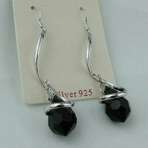 Jewelry - Silver and Black Crystal Dangle Earrings NWOT