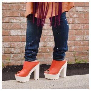 Orange & White Chunky Platform Heels