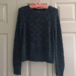 Knitted green-blue cozy sweater