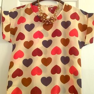 Liva Girl Tops - Liva Girl Multi Colored Heart Blouse
