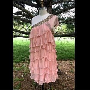 Free People Peach pink tiered One Shoulder Dress 6