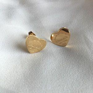 Heart Gold Stud Earrings