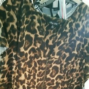 City Chic Dresses - City Chic Leopard Print Front Zip Pleat Tunic