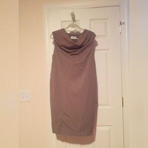 Beige shift dress with gold zipper; Calvin Klein