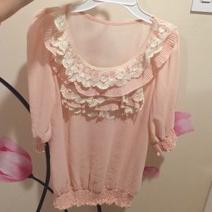 Lace pink blouse