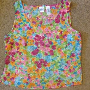 Floral summer semi-sheer tank