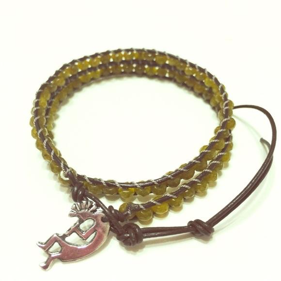 Jewelry - Kokopelli charm double wrap (leather) gemstone