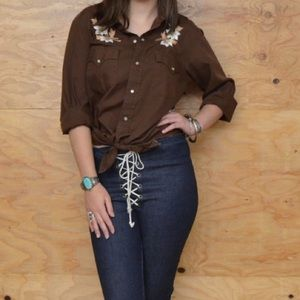 Vintage Brown Embroidered Button Up Western Top