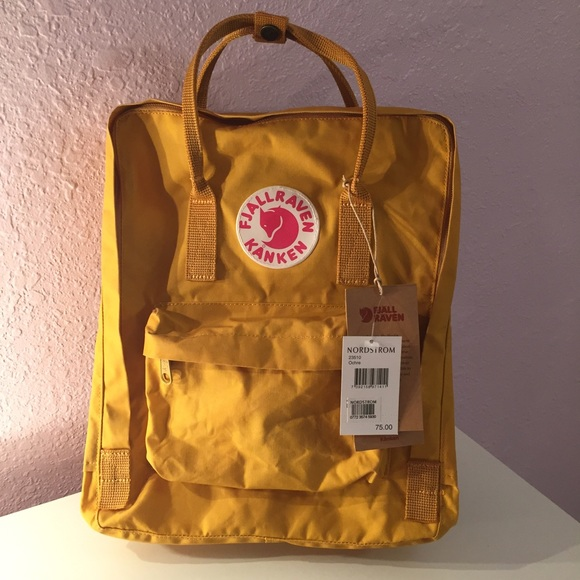 a1aad9f867  56Ⓜ Authentic Fjallraven Kanken Backpack Ochre